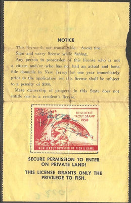 US NJT11 New Jersey Trout Revenue on License - 1958 - Crease