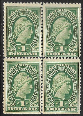 US R240 MNH - Documentary - Block of 4 - Liberty (Weak Perfs)