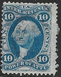 US R37c Used - Power of Attorney - George Washington - Hand Stamped