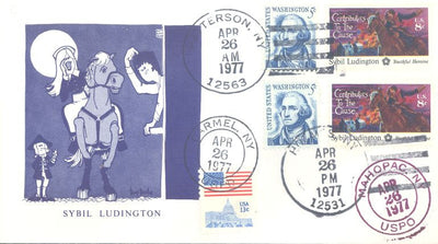 US Event Cover - 200th Anniversary of Sybil Ludington's Ride - 4/26/1977