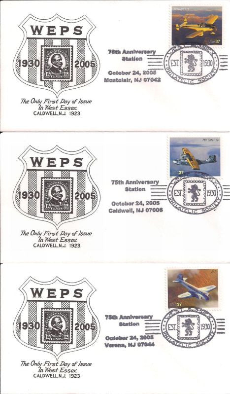US Event Cover - West Essex Philatelic Society 75th Anniversary 3 Covers
