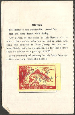 US NJT7 New Jersey Trout Revenue on License - 1956
