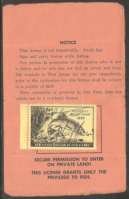 US NJT13 New Jersey Trout Revenue on License - 1959