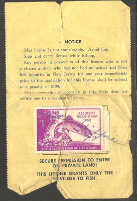 US NJT15 New Jersey Trout Revenue on License - 1960 - Crease