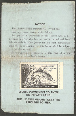 US NJT17 New Jersey Trout Revenue on License - 1961