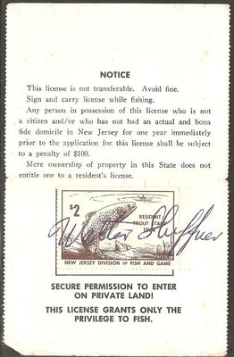 US NJT23 New Jersey Trout Revenue on License - 1964
