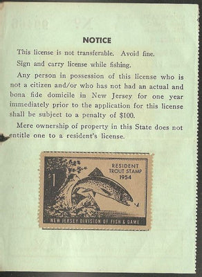 US NJT3 New Jersey Trout Revenue on License - 1954