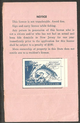 US NJT5 New Jersey Trout Revenue on License - 1955