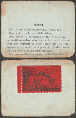 US NJT7 New Jersey Trout Revenue on License - 1956 - Torn in Half