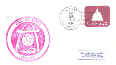 US Naval Cover - USS St. Louis (LKA-116)