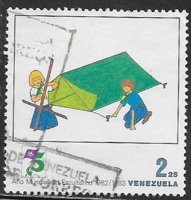 Venezuela 1313 Used - Scouting Year - Pitching a Tent