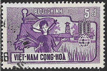 South Viet Nam 210 Used - FAO Freedom from Hunger - Woman with Grain