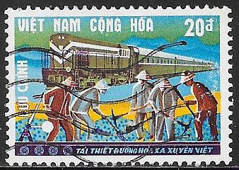 South Viet Nam 342 Used - Workers & Train - Reopening the Trans-Viet Railroad