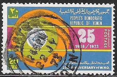 Yemen, Peoples Democratic Republic 135 Used - World Heath Organization (WHO) 25th Anniversary