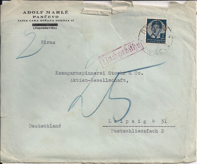 Yugoslavia 126 Cover to Germany - Postage Due