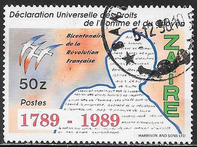 Zaire 1242 Used - French Revolution - Rights of Man & Citizen