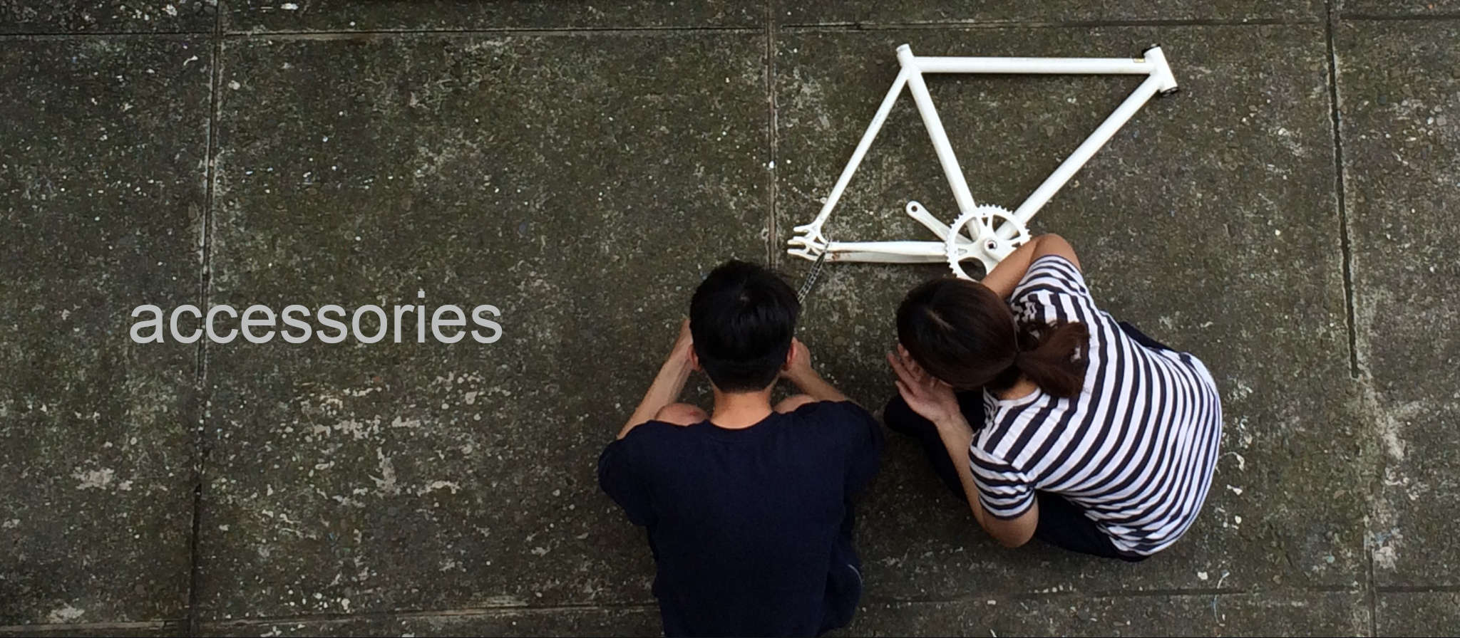 Upside Accessories collection - man & woman with bicycle frame