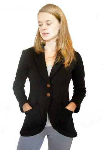 Women Black Fleece Equestrian Jacket
