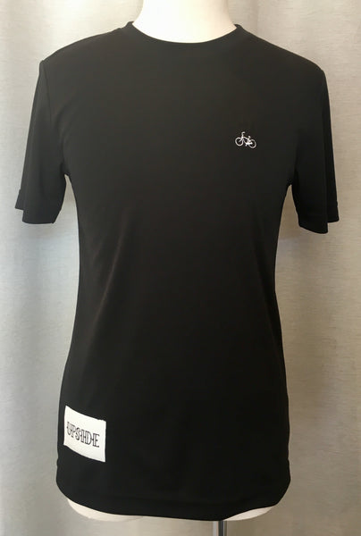Upside Cyclestyle Men's Embroidered Bicycle T-Shirt in Black