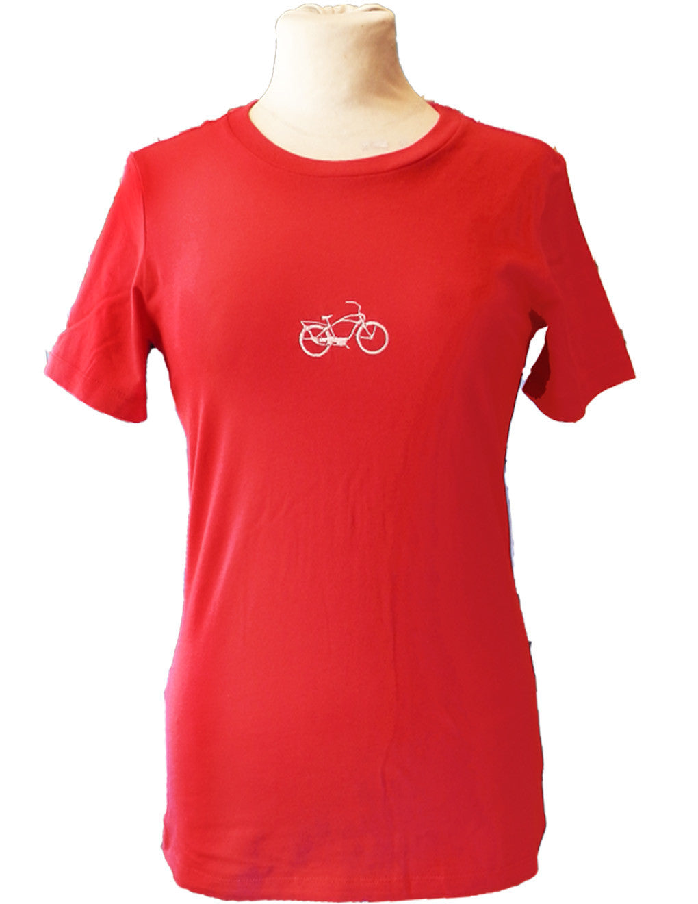 Upside Cyclestyle Women's Embroidered T-Shirt with Cruiser Bicycle in Red - front view
