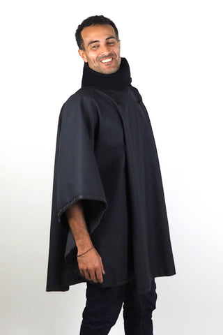 Upside Style Unisex Waterproof 1-2 Poncho in Black on male model - 3/4 view