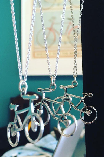 Upside Cyclestyle Jewellery Silver-Plated Bicycle Pendant Necklaces from Anice