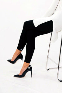 GoWarm by Ilze Magdalena 100% Merino Wool Leggings in Black on model