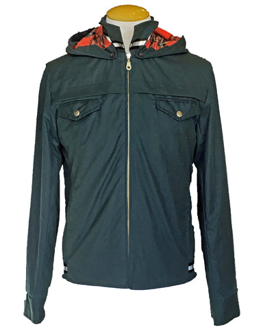 Upside Cyclestyle Men's Waxed Cotton Hooded Monsoon Jacket - front