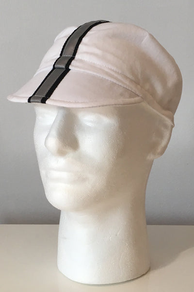 Upside Cyclestyle Cotton Cycling Cap in White with silver reflective stripe - side view