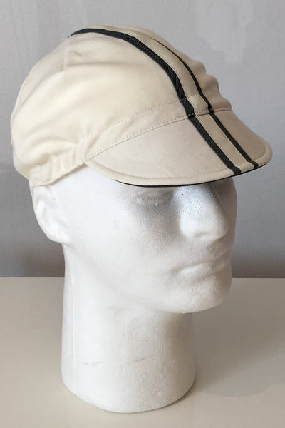 Upside Cyclestyle Cotton Cycling Cap in Off-White with silver reflective stripe - side view