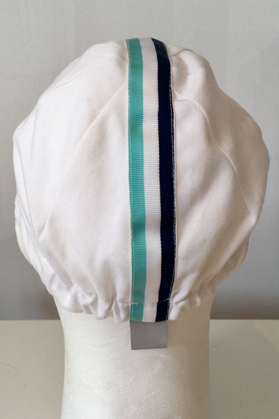 Upside Cyclestyle Cotton Cycling Cap in White with celeste & black stripe - rear view