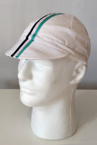 Upside Cyclestyle Cotton Cycling Cap in White with celeste & black stripe - side view