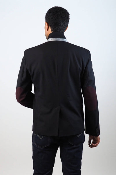 Upside Cyclestyle Men's City Riding Tailored Jacket in Black on model - back