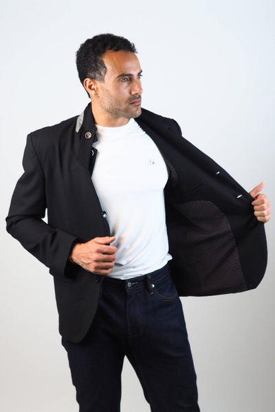Upside Cyclestyle Men's City Riding Tailored Jacket in Black on model showing lining