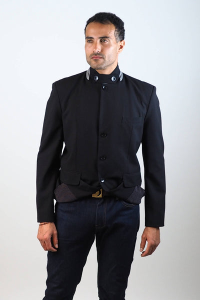 Upside Cyclestyle Men's City Riding Tailored Jacket in Black on model showing reflective collar
