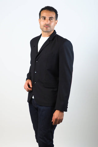 Upside Cyclestyle Men's City Riding Tailored Jacket in Black on model - 3/4 view