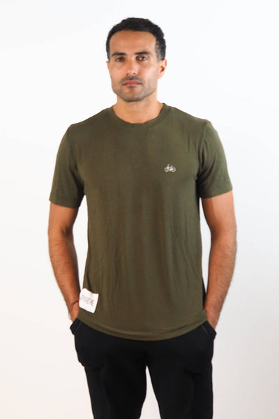 Upside Cyclestyle Men's Embroidered Bicycle T-Shirt in Olive on model