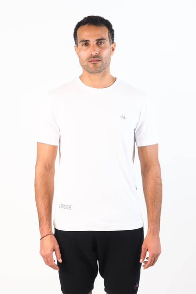 Upside Cyclestyle Men's Embroidered Bicycle T-Shirt in White on model