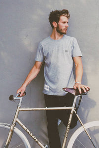 Upside Cyclestyle Men's Embroidered Bicycle T-Shirt on model