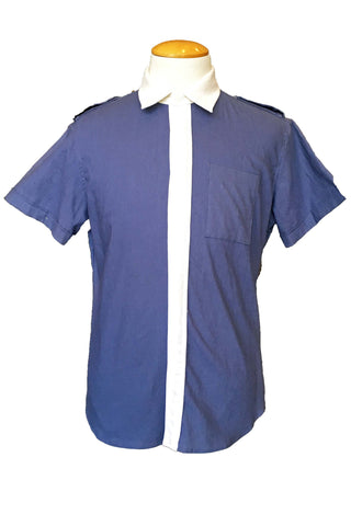 Upside Cyclestyle Men's Linen/Cotton Short-Sleeve Shirt in Teal