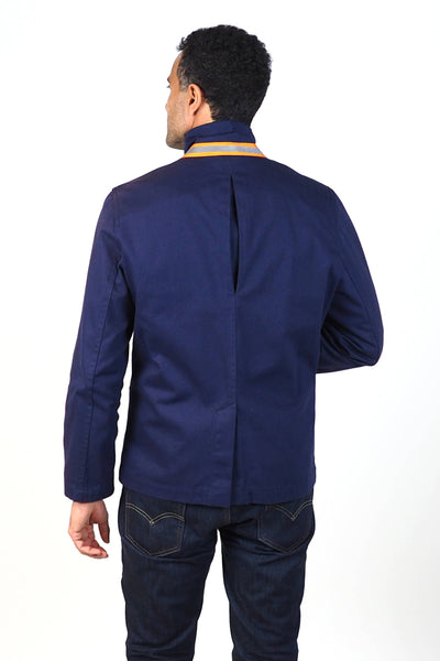 Upside Cyclestyle Men's Twill Chore Blazer in Navy on model - back