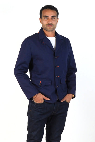 Upside Cyclestyle Men's Twill Chore Blazer in Navy on model