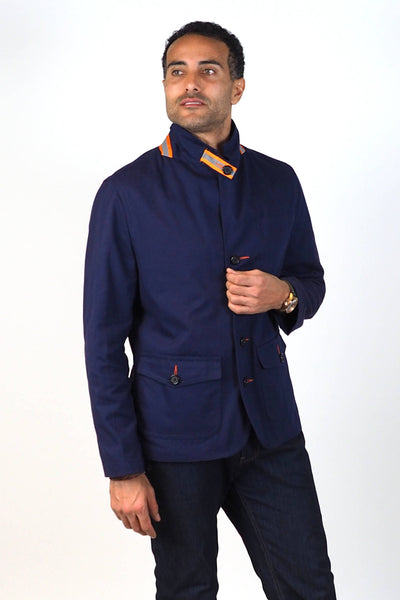 Upside Cyclestyle Men's Twill Chore Blazer in Navy on model showing reflective collar