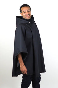 Upside Cyclestyle Men's Waterproof 1-2 Poncho in Black on model