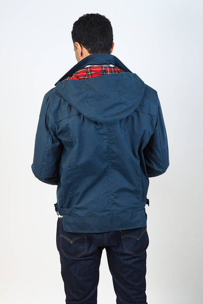 Upside Cyclestyle Men's Waxed Cotton Hooded Monsoon Jacket on model - back