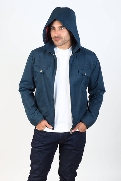 Upside Cyclestyle Men's Waxed Cotton Hooded Monsoon Jacket on model with hood up