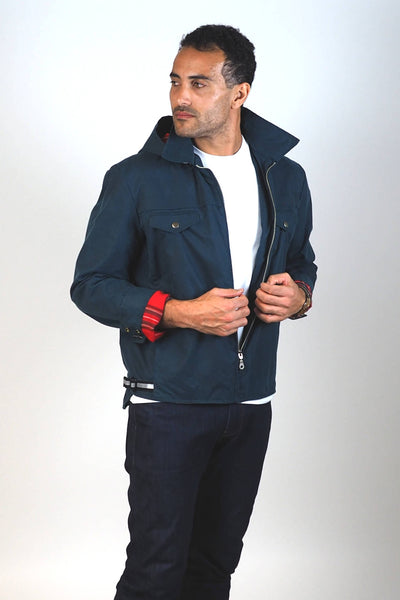 Upside Cyclestyle Men's Waxed Cotton Hooded Monsoon Jacket on model - unzipped