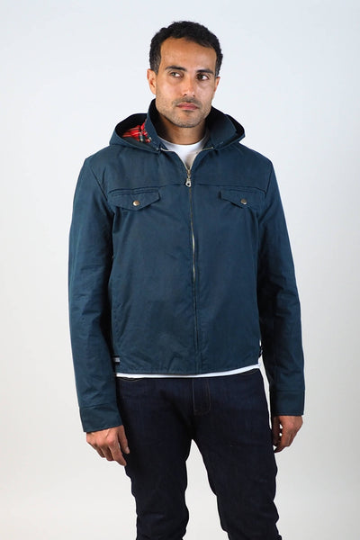 Upside Cyclestyle Men's Waxed Cotton Hooded Monsoon Jacket on model - zipped