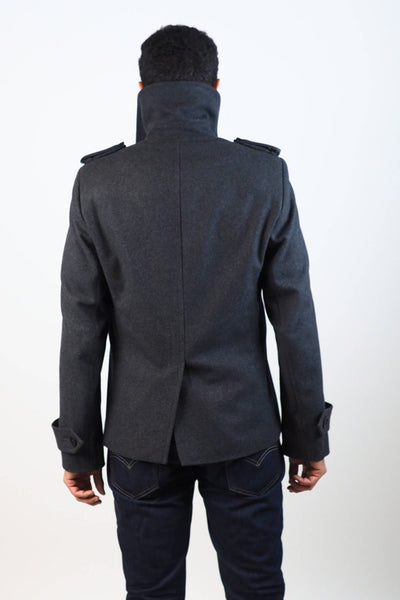 Upside Cyclestyle Men's Wool Peacoat in Charcoal on model - back with collar up
