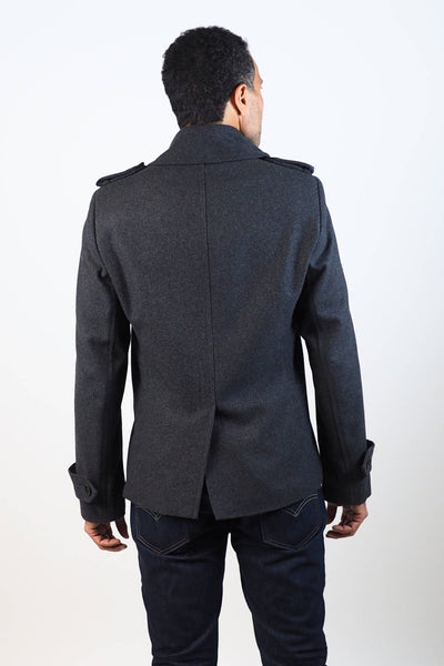Upside Cyclestyle Men's Wool Peacoat in Charcoal on model - back